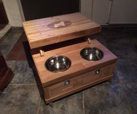 Dog Feeder Coffee Table Out of Reclaimed Wood