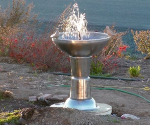 Fountain From Buckets and Bowls With Automatic Water Resupply