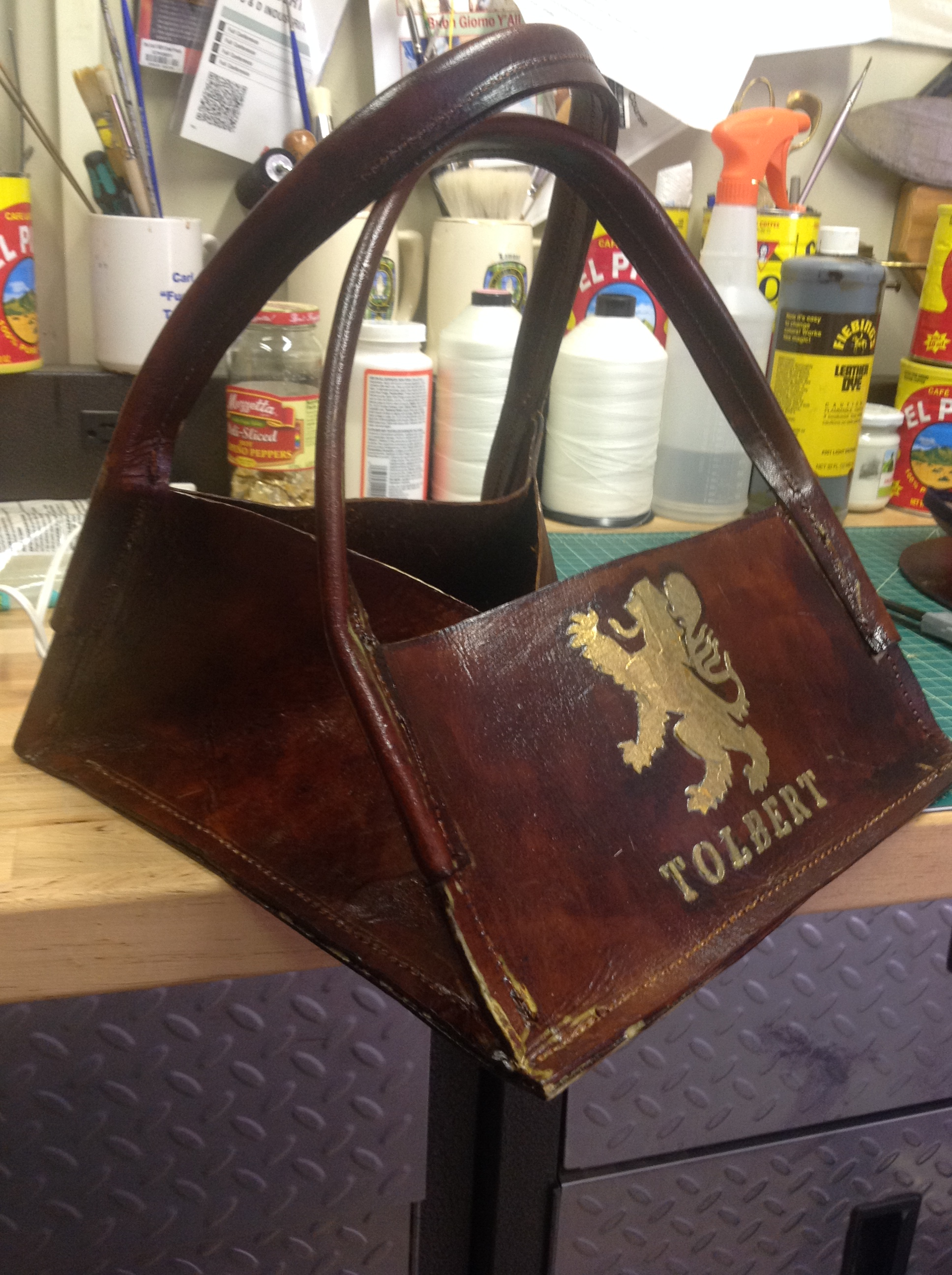Picture of Antique Leather Growler Carrier