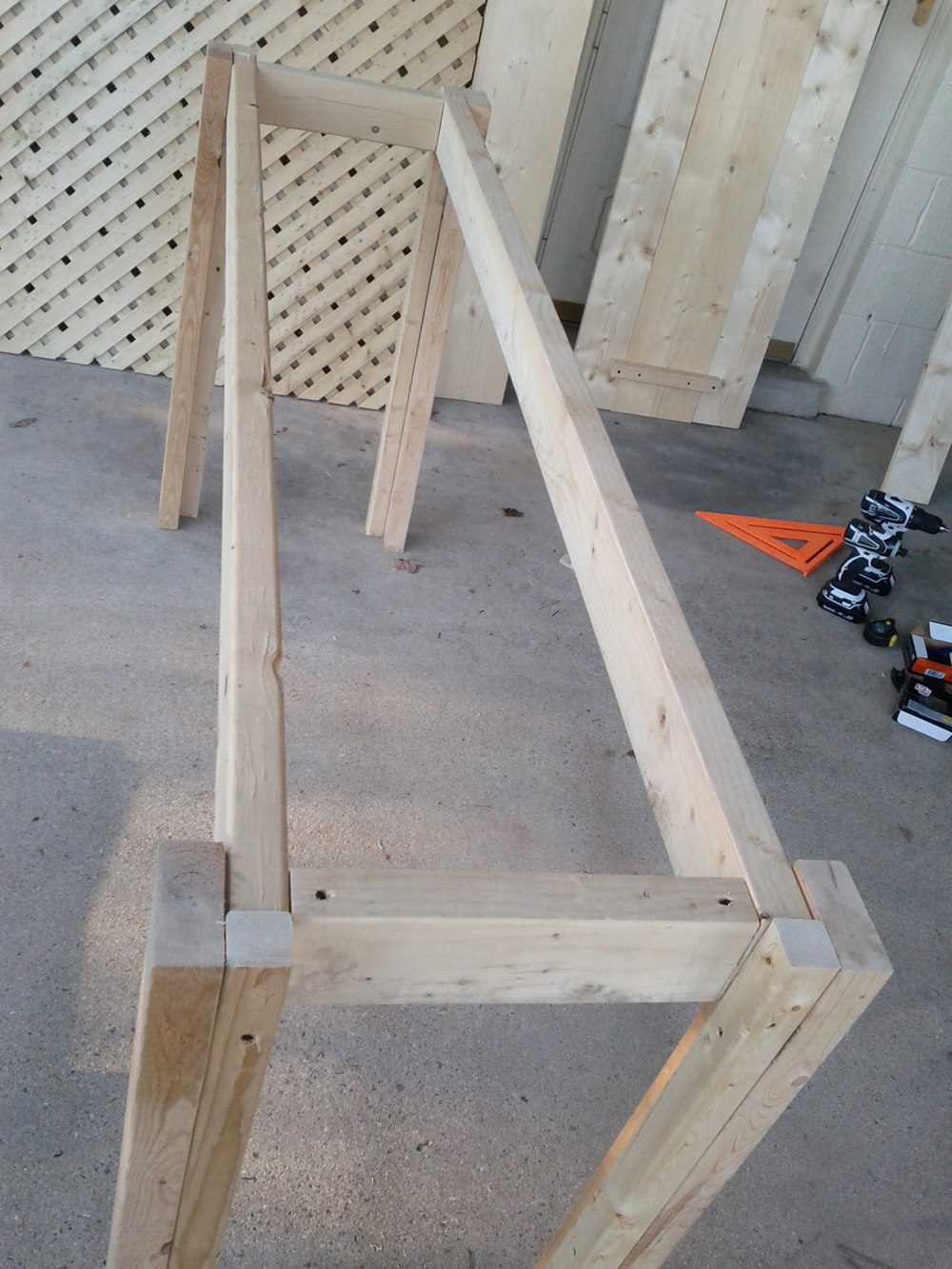 Picture of Attaching Four Legs Together to Complete the First Frame