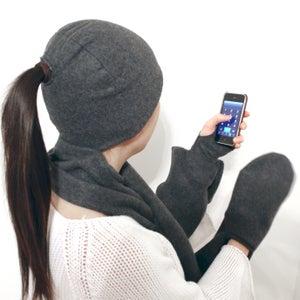 4-in-1 Hat, Scarf, Fingerless Gloves & Mitten Pocket Combo!