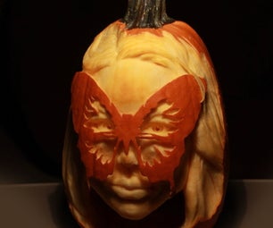 Carving a Butterfly Masquerade Pumpkin