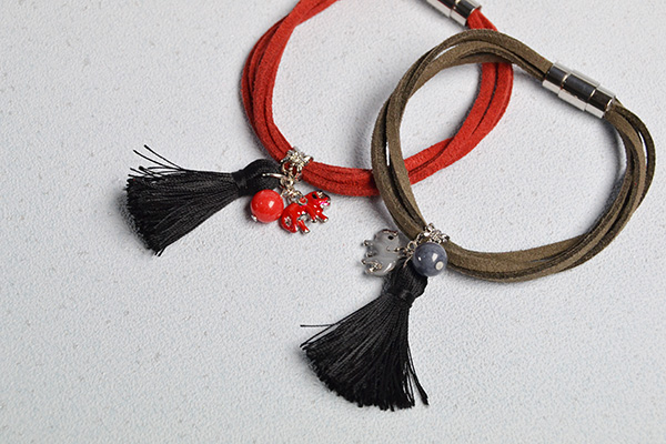 Picture of How to Make Simple Couple Bracelets With Suede Cord and Cute Charms