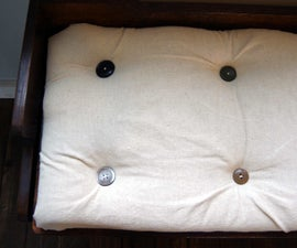 Refinishing a Bench and How to Make a No-sew Tufted Cushion