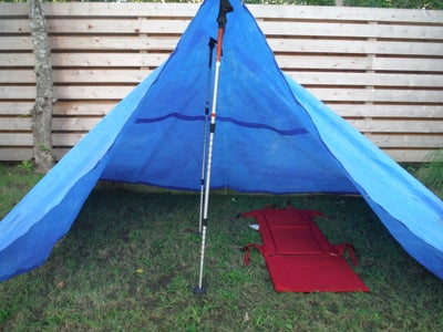 Trekking Pole Blue Tarp Tent