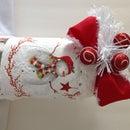 Decoupage Christmas Napkin on Mason Jar with Snow