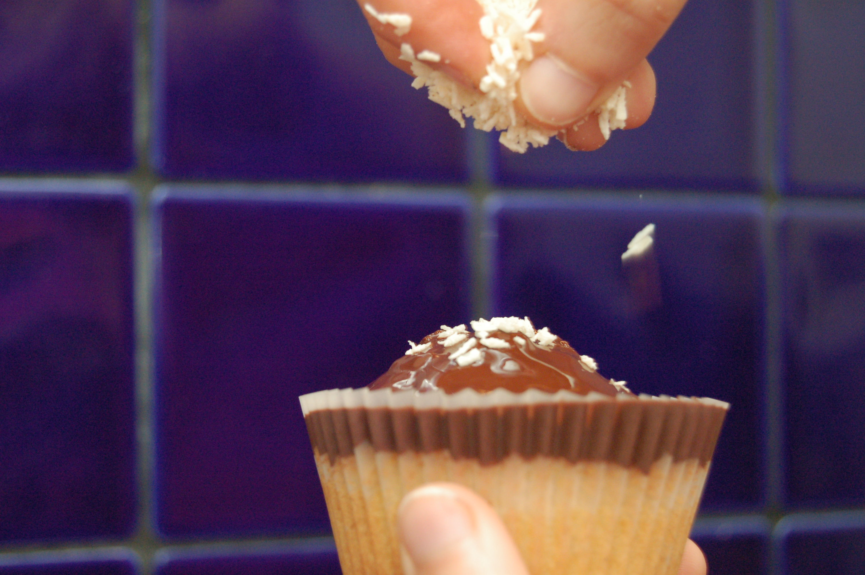 Picture of Dark Chocolate Topped Coconut Cupcakes