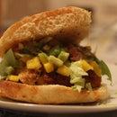 Crispy Chicken Burger with Mango Salsa and Guacamole