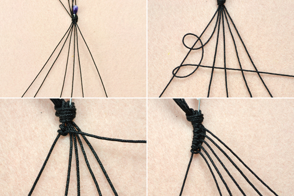 Picture of Weave the Basic Pattern for the Adjustable Macramé Beaded Bracelets