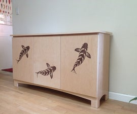 Apartment sized sideboard with koi veneer pictorial inlay - CNC and Laser