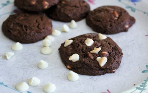 Chewy Chocolate Cookies With White Chocolate Chips