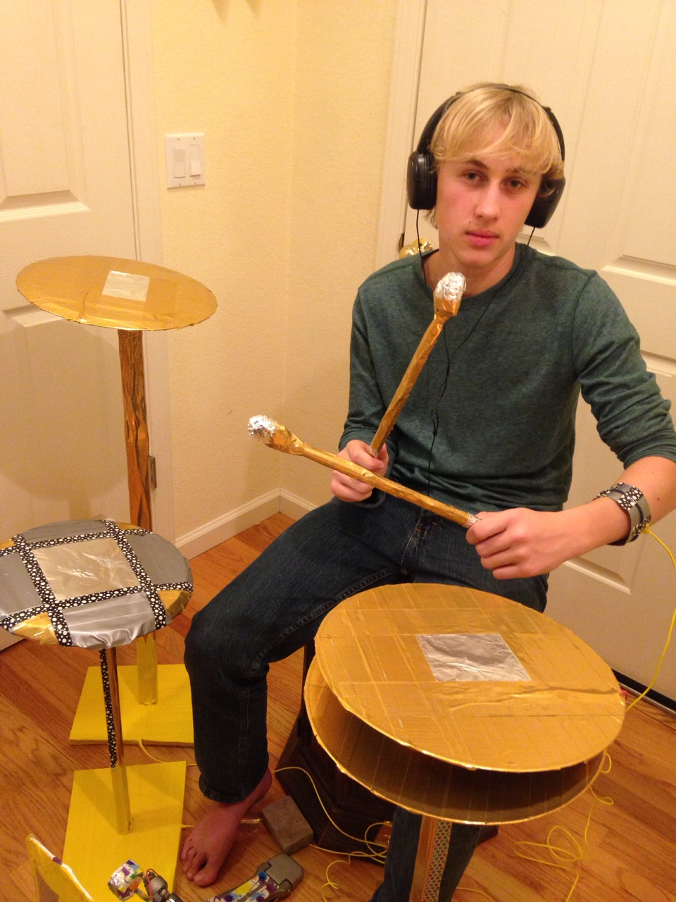 Picture of Life-Sized Electronic Drum Set Using the Makey Makey Development Board