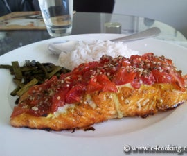Tantalizing Baked Salmon Meal - baby tomato & herb crusted baked salmon with rice and roasted asparagus
