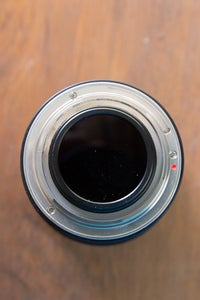 Rokinon 8mm Lens Rear Mounted Filter on a Canon