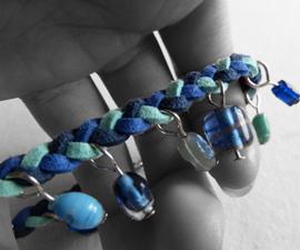 Beady blue braided bracelet