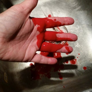 Washable, Non-staining Stage Blood by the Gallon