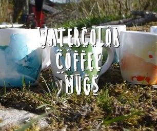 DIY Watercolor Coffee Mugs