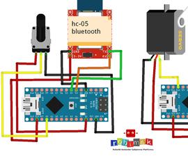 Servo Motor Control Via Bluetooth With Potentiometer