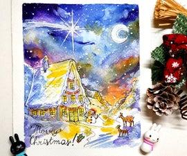 DIY WATERCOLOR CHRISTMAS CARD - WINTER VILLAGE