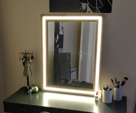 Modern Wood and LED Vanity Mirror