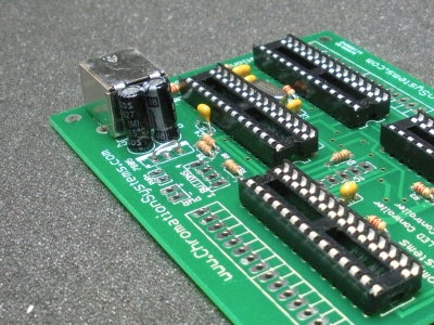 Oscillator, Sockets, USB Connector and 7805