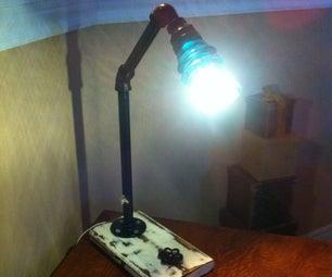 Pipe Lamp With Antiqued Wood Base