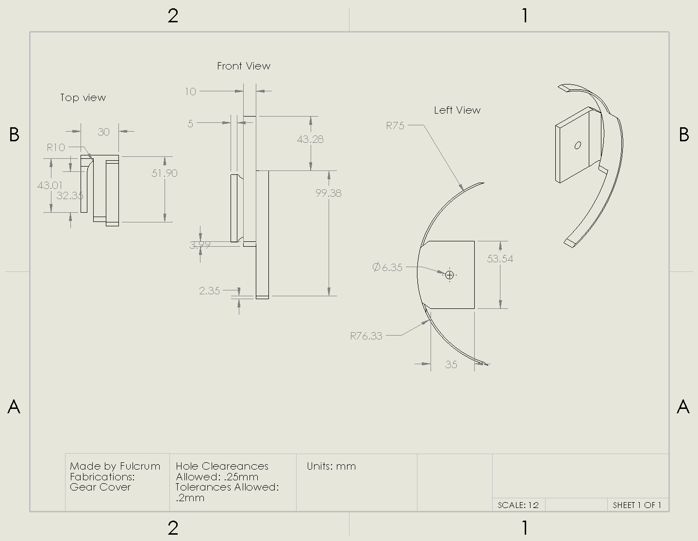 Picture of Gear Cover Drawing