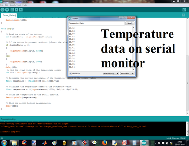 Program Execution and Monitoring on Serial Monitor of Arduino IDE