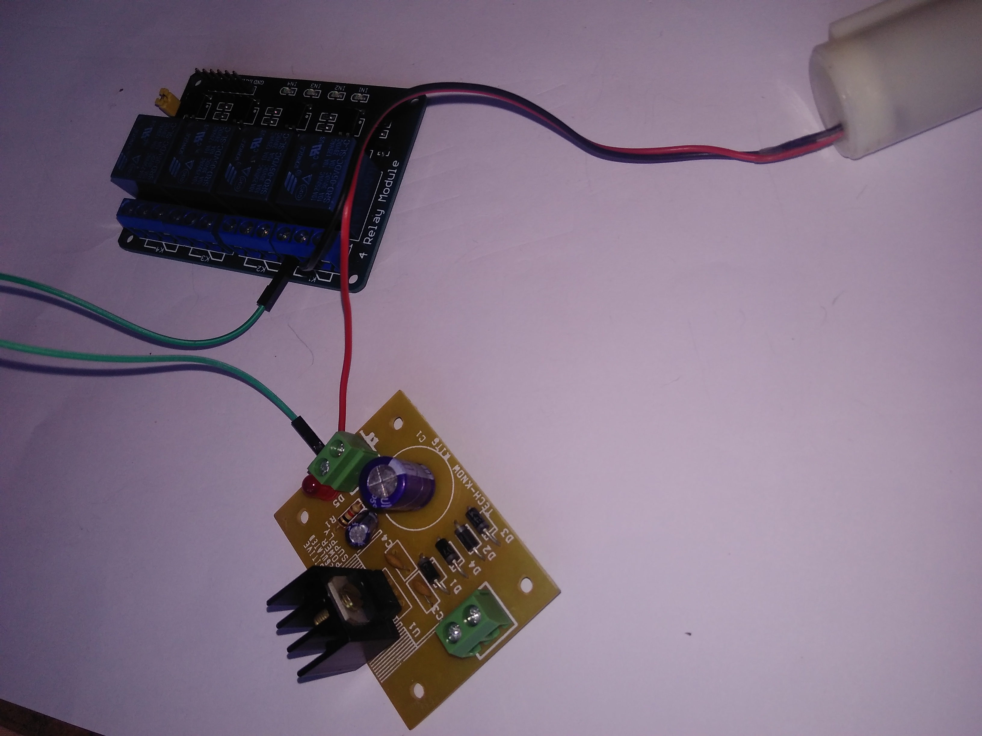 Picture of Connection of Relay Board and 12v Submersible Pump