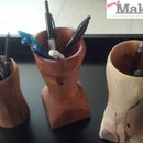 Pencil holder from fence post on the lathe