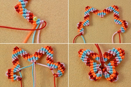 Finish the Outline of the Butterfly Friendship Bracelet