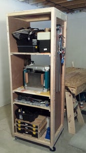 Workshop Mobile Storage Unit With Adjustable Shelving