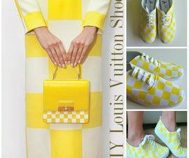 DIY Shoes Tutorial: Louis Vuitton Yellow Checkered Print