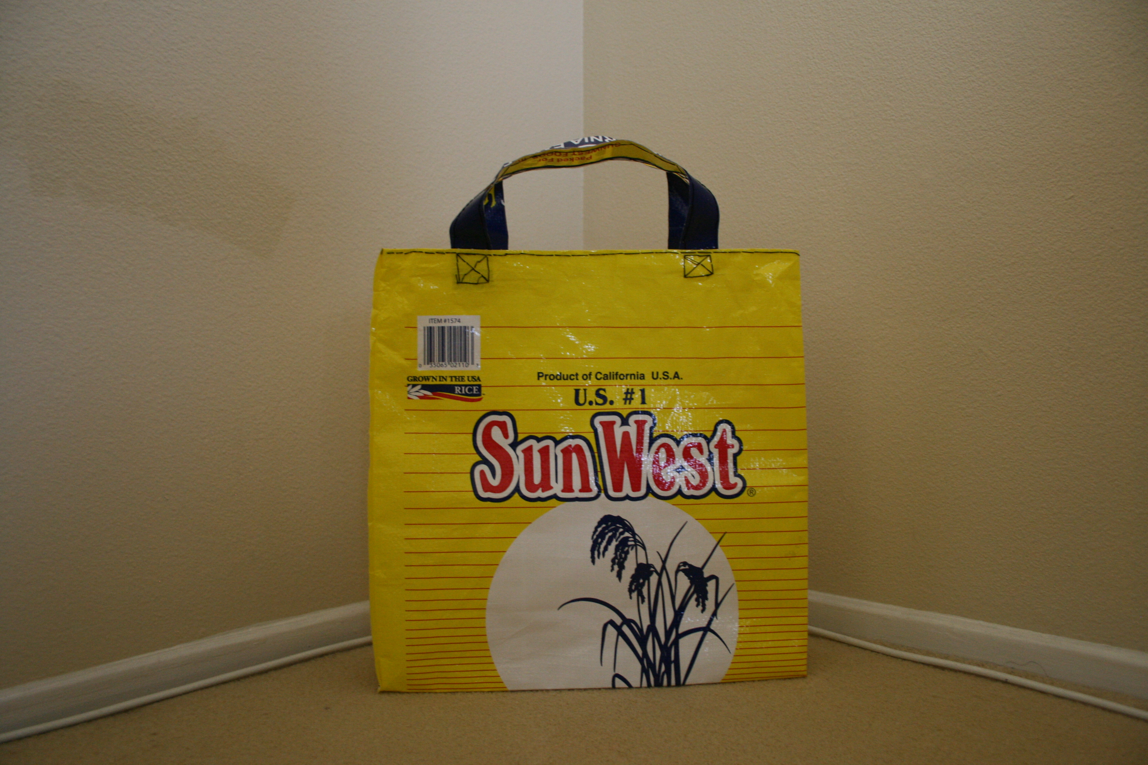 Picture of Reusable Grocery Bag Made From a Rice Bag