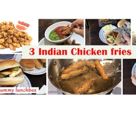 3 Indian Chicken Fries ( As Evening Snack / Iftar Snack ) or ( Lunchbox or Dinner Ideas With Wrap/burger/sandwich )