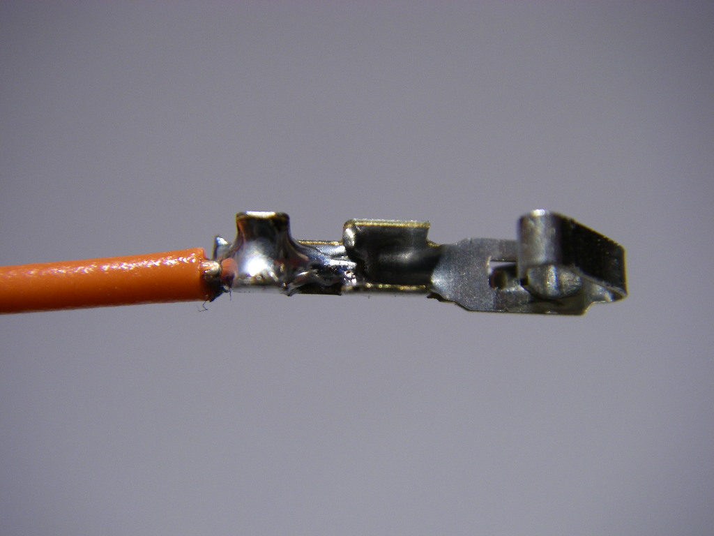Picture of Soldering to the Socket Crimps.