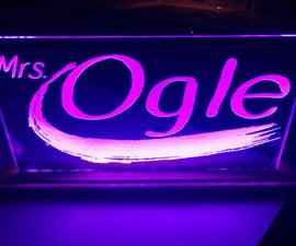 Laser Cut Edge Lit Acrylic With Base