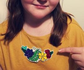 Floral Shrink Plastic Necklace
