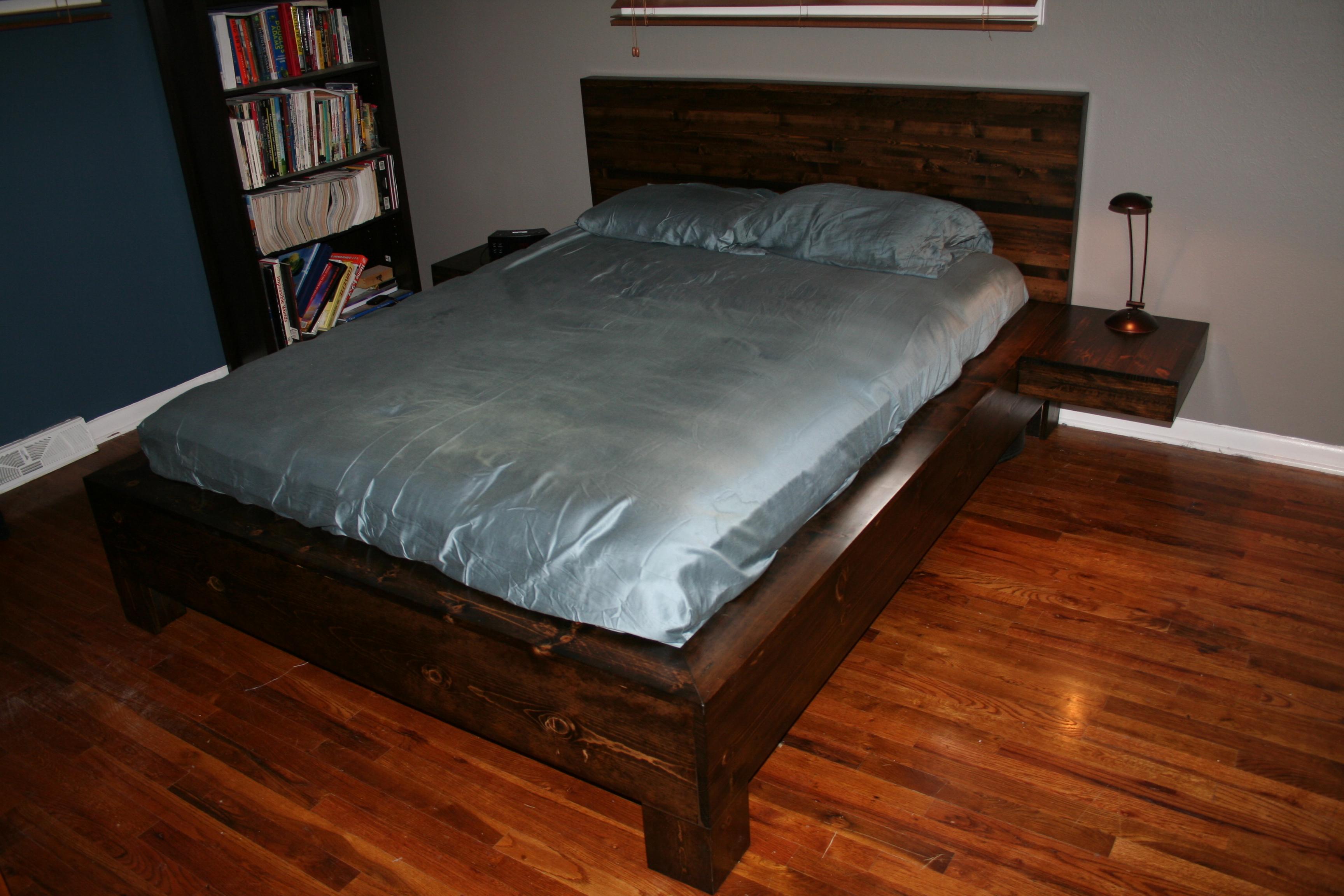 Japanese platform bed frame diy - Diy Platform Bed With Floating Nightstands