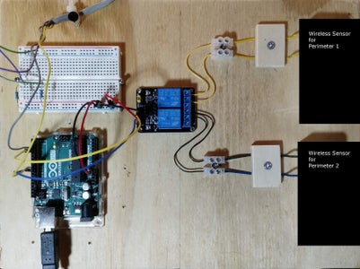 Hardwired Alarm Zone and Wireless Contact Sensors