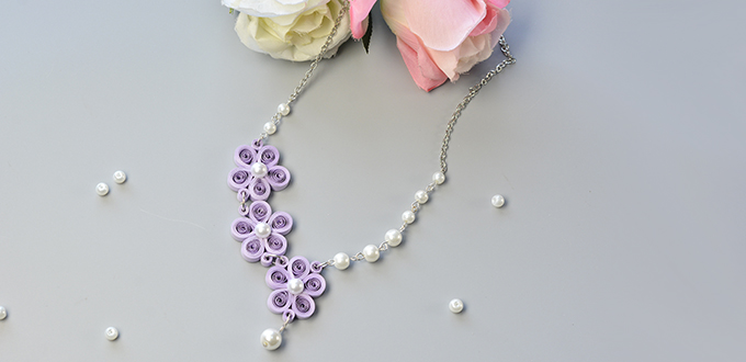 Picture of How to Make a Purple Quilling Paper Flower Necklace With White Pearl Beads Decorated