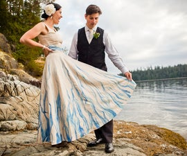 Handpainted, Upcycled Wedding Dress