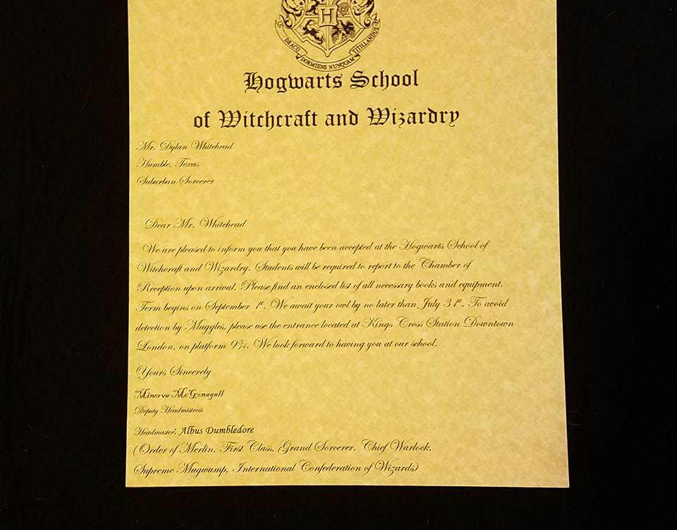 Picture of Make Your Own Hogwarts Acceptance Letter