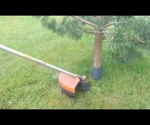 HOW TO CUT GRASS AROUND TREES WITHOUT HITTING BARK   BRUSH CUTTER,LAWN MOWER,EDGE TRIMMER PROTECTION