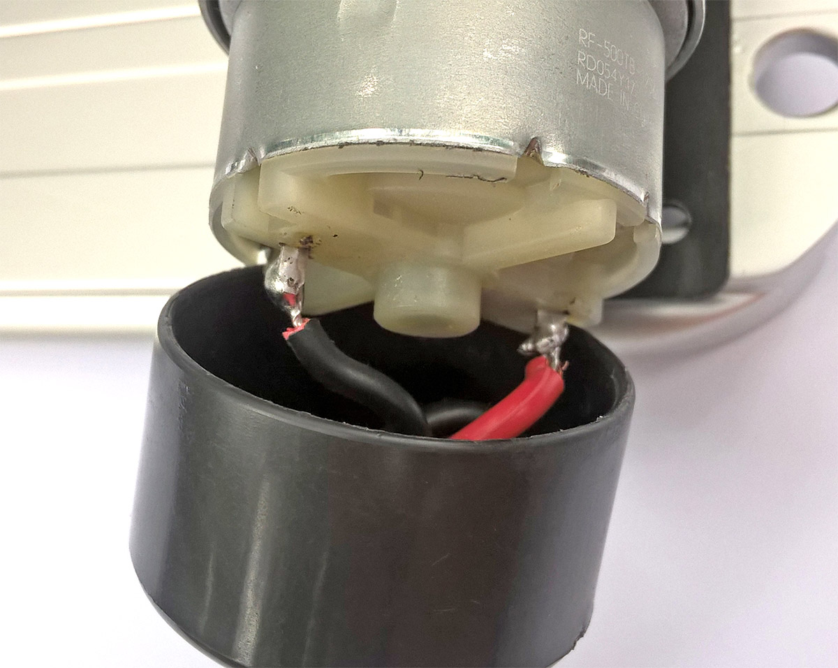 Picture of Solder a Female Pigtail Wire to Motor Leads.