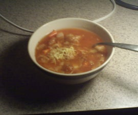 Tuna noodle coffepot soup