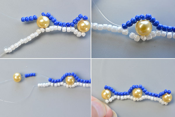 Picture of Make the Third Part of the Blue Seed Bead Stitch Wide Bracelet