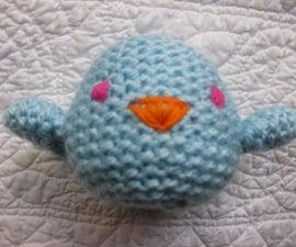 Knitted bluebird