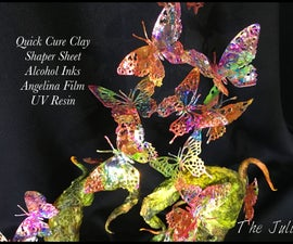 Alcohol Ink and Angelina Film Gravity-Defying Sculpture