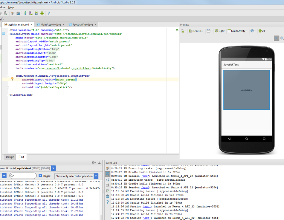 Picture of Adding the JoystickView Via XML